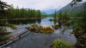 美妙的湖宽全景 风景夏天风景、山和蓝色多云天空在背景 区东部ilchir找出okinsky高原sayan的俄国 库存照片