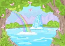 美妙的瀑布 库存例证