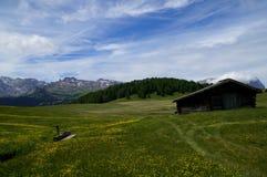 美妙的田园诗全景阿尔卑斯和木客舱 库存照片