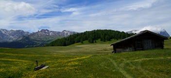 美妙的田园诗全景阿尔卑斯风景和木客舱 库存图片