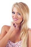 美妙的白肤金发的妇女纵向  免版税库存照片