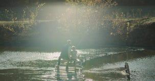 美妙的观点的湖、爸爸和他的儿子坐在桥梁和捉住的鱼上面的一把椅子从湖 慢 股票视频