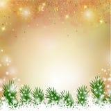 美妙的金子闪烁的圣诞节背景 免版税库存图片