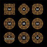 美妙的集合,样式艺术nouveau 典雅的线艺术商标、Emdlem和组合图案设计,导航模板 免版税图库摄影