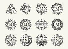 美妙的集合,样式艺术nouveau 圆的典雅的线艺术商标、Emdlem和组合图案设计,导航模板 免版税库存图片