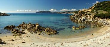 美妙西部海岸撒丁岛南的视图 免版税库存图片