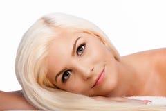 美学秀丽面部skincare概念妇女面孔 库存照片
