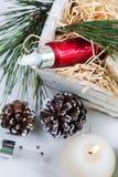 美容品和化妆用品与圣诞节装饰 库存图片