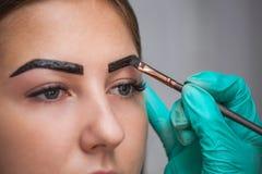 美容师化妆师应用在以前采的油漆无刺指甲花,设计,在美容院的被整理的眼眉在会议惊叹 免版税库存图片