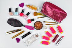 美容师和化妆用品 库存照片