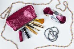 美容师和化妆用品 免版税图库摄影