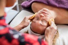 美容师在沙龙的清洁女仆的面孔 免版税库存照片