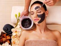 美容师抹上在妇女的面孔的化妆面具 库存图片