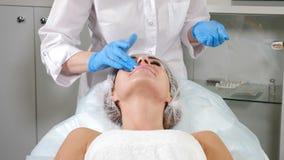 美容师概念 盖女性面孔的化妆师用麻醉的奶油在秀丽做法前 年轻俏丽的妇女 股票录像