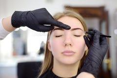 美容师眼眉采 可及面部关心和构成的可爱的妇女发廊 建筑学眼眉 免版税库存图片