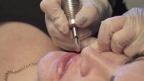 美容师,做嘴唇永久的永久构成的专家组成 股票录像