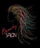 美容院与妇女的抽象闪闪发光头的商标概念 免版税库存图片