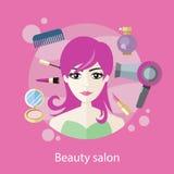 美容院概念平的样式设计 免版税图库摄影
