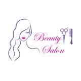 美容院的美好的妇女传染媒介商标模板 免版税库存照片