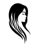 美容院的头发引伸的商标或做法或睫毛或者化妆用品 免版税库存图片