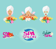 美容院象和商标与花和妇女的头 免版税库存照片