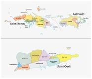 美属维尔京群岛的区和街道的地图 免版税库存图片
