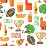 美式足球无缝的传染媒介样式 超级杯,盔甲,战利品,啤酒,泡沫手指,便当,去着陆字法 向量例证