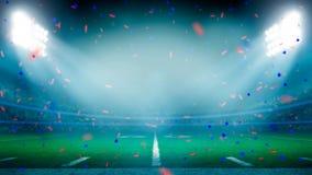 美式足球橄榄球场冠军胜利庆祝 免版税库存照片