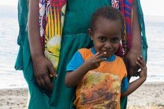 美拉尼西亚孩子的画象 免版税库存照片