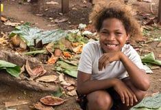 美拉尼西亚孩子的Portrat,所罗门群岛 图库摄影