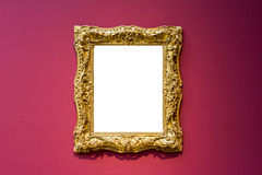 美术馆框架红色墙壁华丽设计白色被隔绝的剪报 库存图片