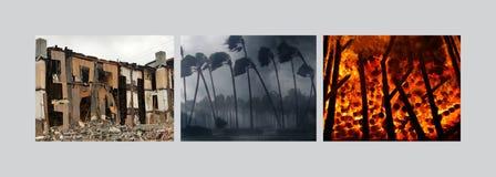 美洲, 2017年10月12日 在地震和飓风以后,美洲由火灾碰撞 免版税库存照片