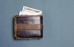 美金在棕色皮革钱包里 库存图片