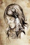 美洲印第安人妇女,纹身花刺剪影 向量例证