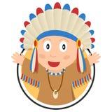 美洲印第安人孩子商标 免版税图库摄影