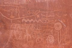 美洲印第安人当地岩石文字 图库摄影