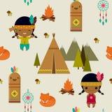 美洲印第安人无缝的墙纸 免版税库存图片
