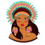 美洲印第安人服装的少妇  库存照片