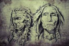 美洲印第安人长辈纹身花刺剪影  库存例证