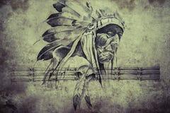 美洲印第安人头目战士纹身花刺剪影  向量例证