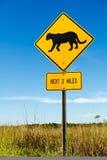 美洲狮横穿交通标志 图库摄影