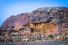 美洲狮的岩石在Isla del Sol的在的喀喀湖,玻利维亚 库存图片
