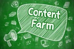 美满的农场-在绿色黑板的手拉的例证 库存图片
