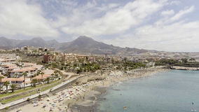 美洲de las playa tenerife 在夏季的鸟瞰图 库存图片