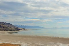 从羚羊海岛Layton UT的盐湖 免版税库存照片