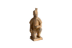 羡赤土陶器战士雕象的小再生产 免版税库存图片