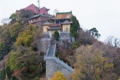 羡,中国- 2014年11月11日:南五台山(Nanwutai) 一著名 库存图片
