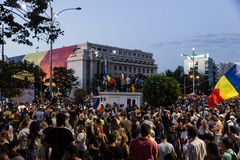群众抗议在反对政府的布加勒斯特 免版税图库摄影
