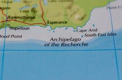 群岛讲究在地图 免版税库存照片