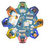 群策群力创造性的队想法讨论人民平的infographic概念传染媒介 免版税库存图片